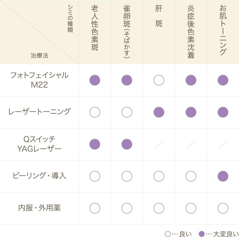 シミの種類_表